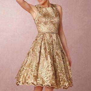 BHLDN Eliza J Rosa Gold Dress Size 10